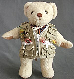 Plush Jointed Teddy Bear Wearing Fishing Vest