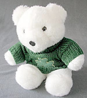 Shamrock White Teddy Bear (Image1)