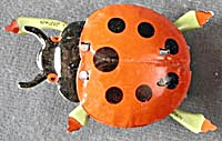 Vintage Tin Litho Lady Bug Push Toy