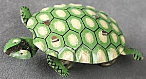 Vintage Green Nodding Tin Litho Turtle Push Toy (Image1)