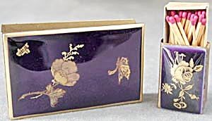 Cobalt Enamel Brass Match Box Holder & Cigarette Cover
