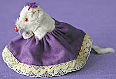 Vintage Real Fur Mouse In Purple Dress