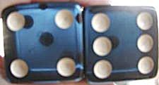 Vintage Large Blue Bakelite Dice (Image1)