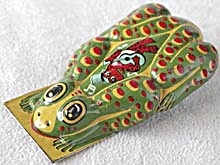 Vintage Tin Lithograph Frog Clicker Green