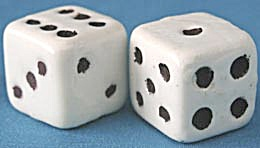 Vintage Large Ceramic Dice with Weights  (Image1)