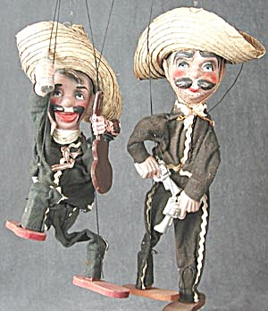 Vintage Marionettes Puppets Mexicans Set Of 3 (Image1)
