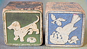 Vintage Wooden Bluebird & Dachshund Blocks