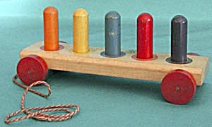 Vintage Wooden Color Peg Pull Toy Jaymar Tiny Tot Toy (Image1)