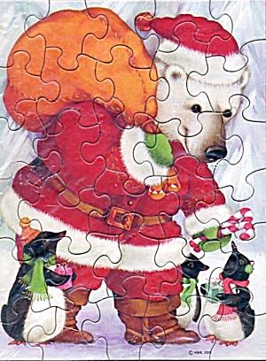 Hallmark Jigsaw Puzzle Santa Polar Bear & Penguins (Image1)