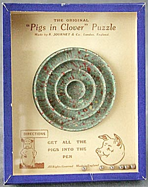 Vintage Pigs in Clover Dexterity Game Puzzle (Image1)