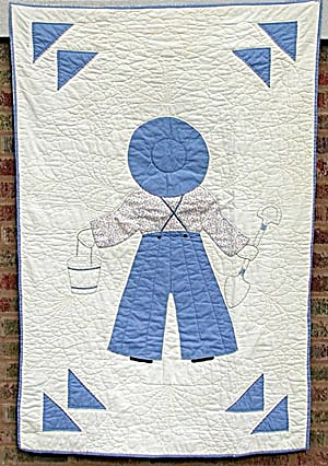 Antique Overall Boy Crib Quilt (Image1)