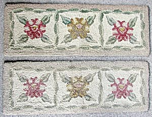 Vintage Hooked Stair Runners With Flowers