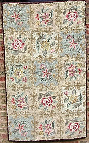 Vintage Rectangle Hooked Rug With Floral Design