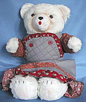 Vintage Large White Bear In Jumper