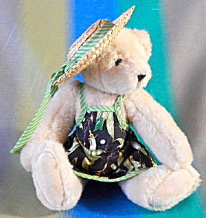 Vintage Teddy Bear With Straw Hat