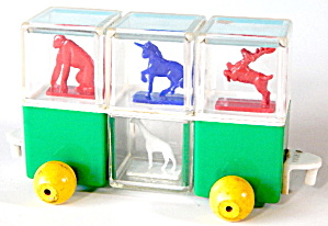 Vintage Plastic Animal Peek-a-boo Blocks Train Car