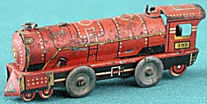 Vintage Lithographed Wind Up Tin Penny Toy Train (Image1)