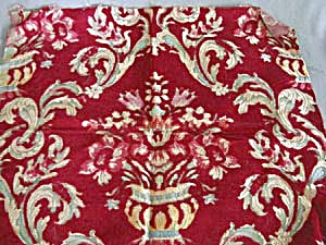 Vintage Red Velour with Brocade Flowers in Vase Fabric (Image1)