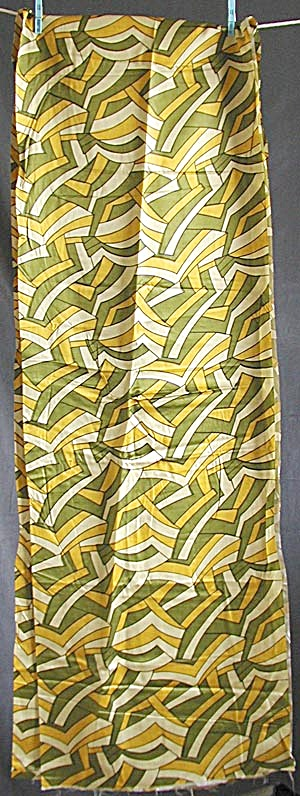 Vintage Gold & Olive Geometric Pattern Fabric (Image1)
