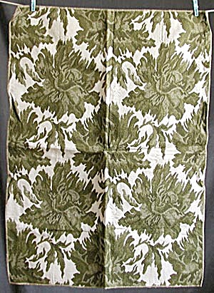 Vintage Olive & White Fabric