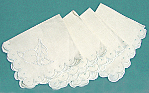 Vintage Peach Design Embroidered & Cut Work Napkins
