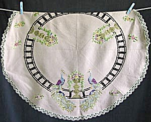 Antique Peacocks Round Table Cover