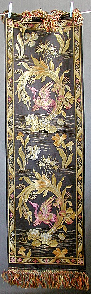 Antique Table Runner With Herons, Lilies & Blue Flag