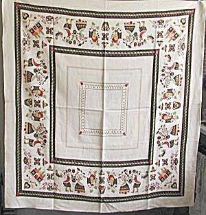 Vintage Linen Folk Scene Tablecloth (Image1)