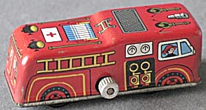 Vintage Metal Wind Up Tin Litho Fire Truck