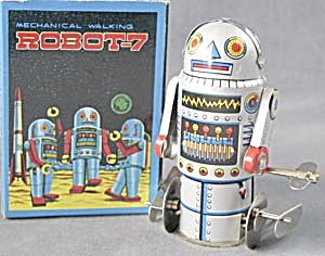 Vintage Robot-7 Wind Up Tin Toy