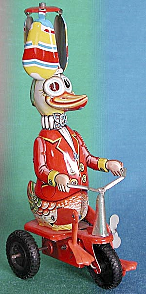 Vintage Windup Metal Duck on Bicycle (Image1)