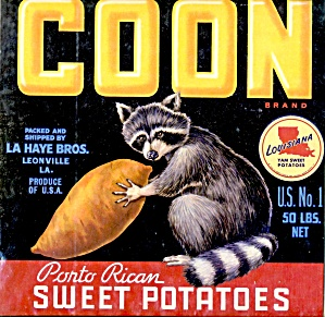 Vintage Coon Sweet Potatoes Crate Label