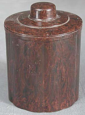 Vintage Brown Baklite Covered Container