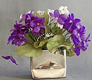 Vintage Silvertone Metal Bag with Violets (Image1)