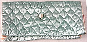 Vintage Aqua & Peach Quilted Satin Travel Bag (Image1)