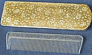 Vintage Plastic Glitter Comb & Holder (Image1)