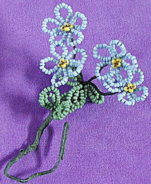 Vintage Beaded Forget-me-not Flowers