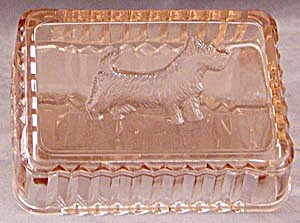 Vintage Pink Glass Scottie Box