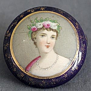 Vintage Lady Powder Jar Vanity Box