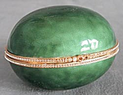 Large Hinged Emarald Green Enamel Egg Box