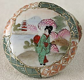 Vintage Geisha Girl Powder Dresser Jar With Lid