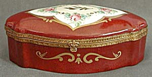 Large Antique Hand Painted Jewelry Box