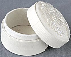 White Fabric Beaded Box (Image1)