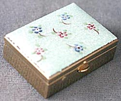 Vintage Aqua Flower Enamel Pillbox (Image1)