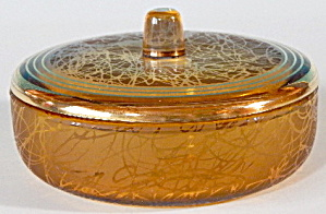 Vintage Amber Colored Glass Dresser Box