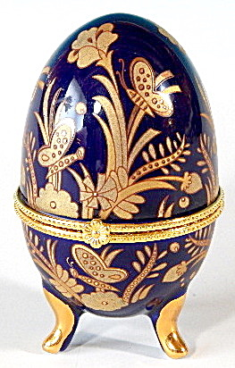 Porcelain Blue & Gold Egg Butterfly Trinket Box