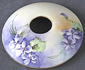 Vintage Hand Painted Violet Hair Receiver Lid
