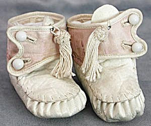 Antique White Leather Trimmed in Pink Silk Baby Shoes (Image1)