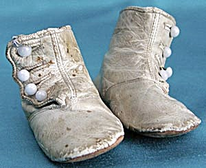 Victorian White Leather High Button Baby Shoes (Image1)