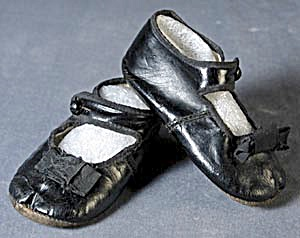 Antique Black Leather Mary Jane Baby Shoes (Image1)